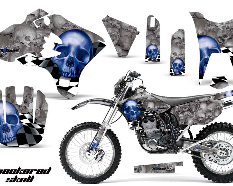 AMR Racing Graphics MX-NP-YAM-WR250F-WR450F-03-04-CS U S Kit Decal Sticker Wrap + # Plates For Yamaha WR250F WR450F 2003-2004 CHECKERED BLUE SILVER
