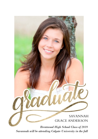 Graduation Announcements Flat Matte Photo Paper Cards with Envelopes, 5x7, Card & Stationery -Graduate Swirl