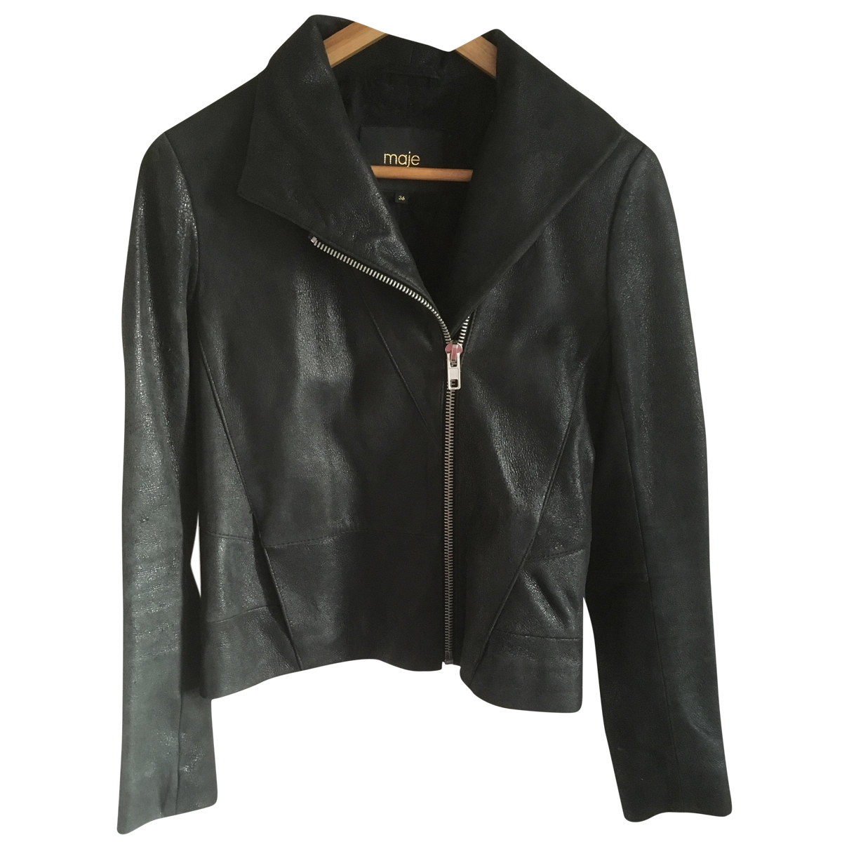 Maje \N Black Leather jacket for Women 36 FR