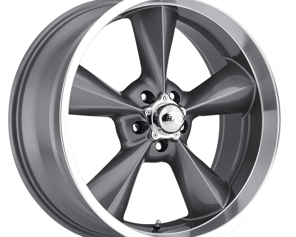 B/G Rod Works Wheels OS 580-5475-00 GML Old School Wheel 15x8 5x120.65 0mm Gun Metal Machined Lip