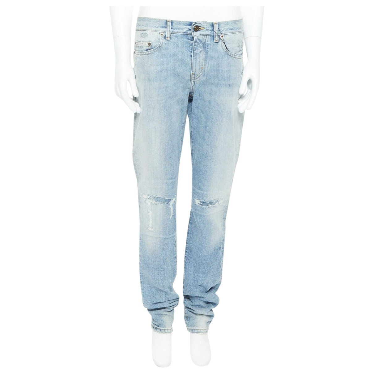Saint Laurent \N Blue Cotton Jeans for Men 29 US
