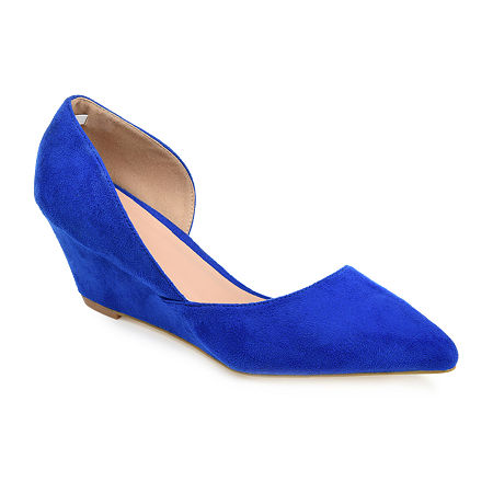 Journee Collection Womens Lenox Pumps Wedge Heel, 6 Medium, Blue