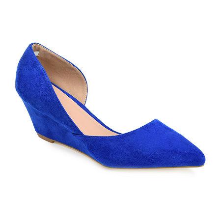 Journee Collection Womens Lenox Pumps Wedge Heel, 9 Medium, Blue