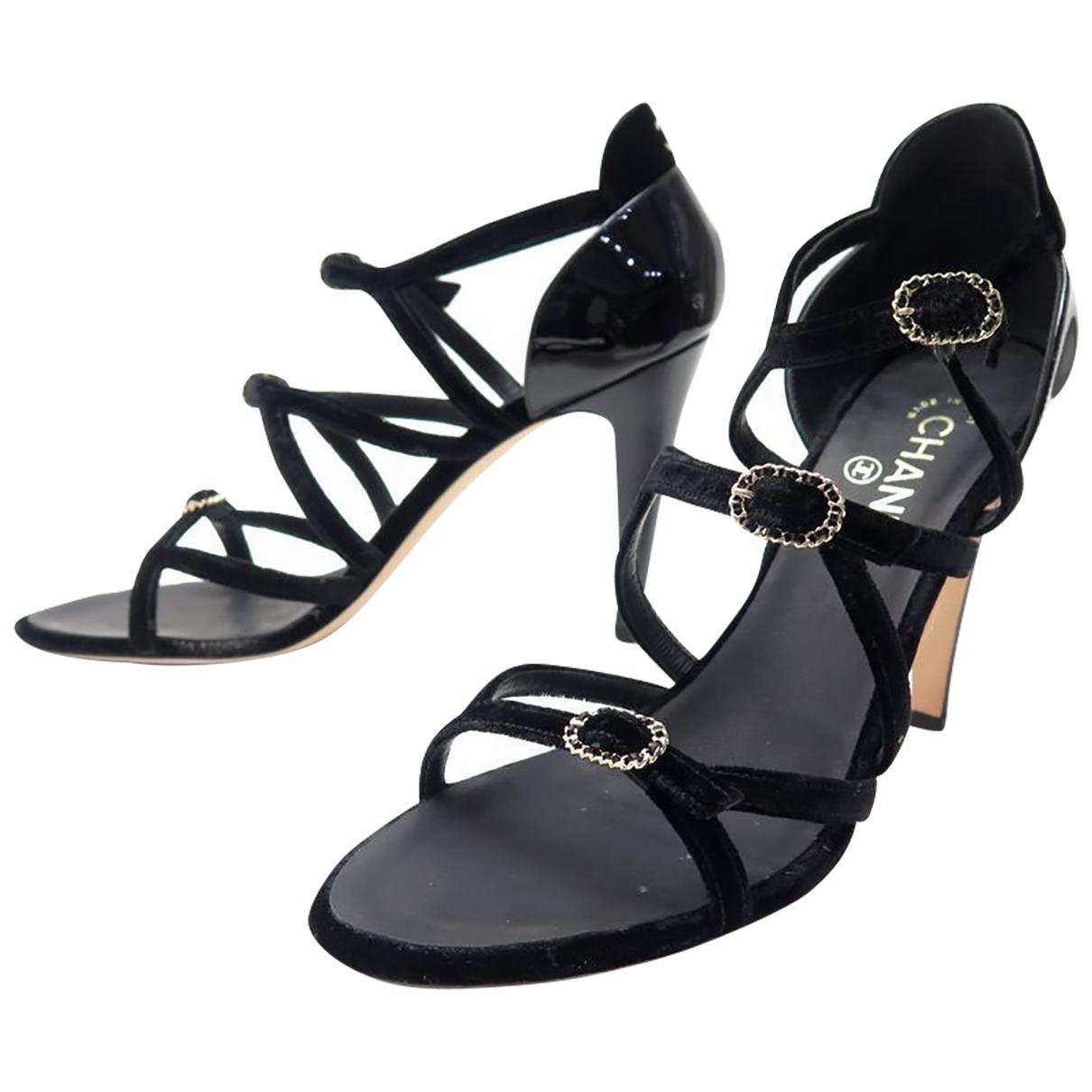 Chanel \N Black Velvet Sandals for Women 40.5 EU