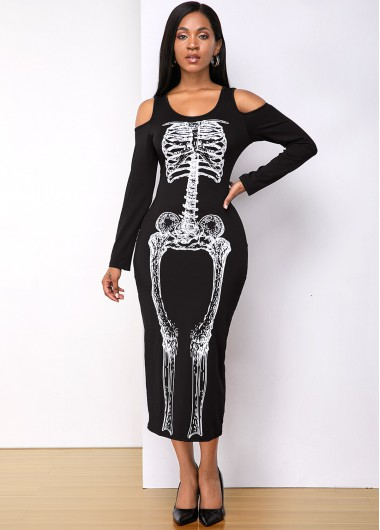 Black Dresses Halloween Skull Print Long Sleeve Dress - M