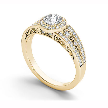 Womens 1 CT. T.W. Genuine White Diamond 14K Gold Halo Engagement Ring, 9 , No Color Family