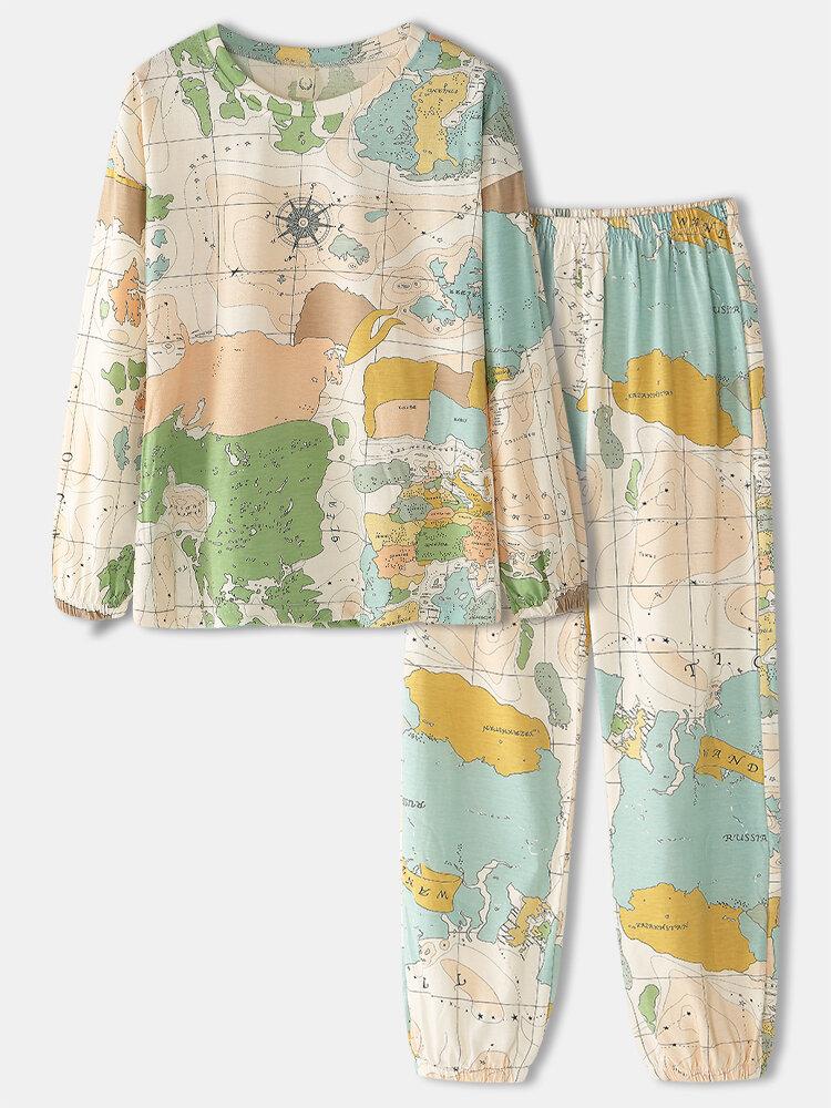 Women World Map Print Round Neck Elastic Waist Jogger Pants Cotton Home Pajamas Set