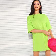 Neon Lime Drop Shoulder Tee Dress