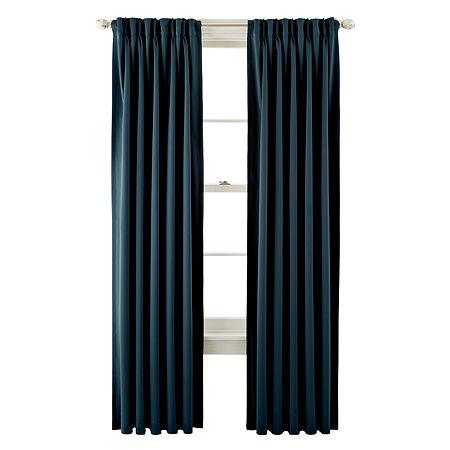 Liz Claiborne Kathryn Room-Darkening Pinch-Pleat/Back-Tab Curtain Panel, One Size , Blue