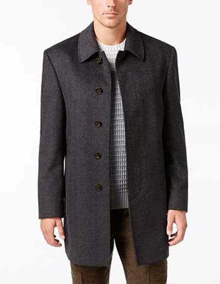 Mens Herringbone 5 Button Notch Lapel Wool Blend Charcoal Overcoat
