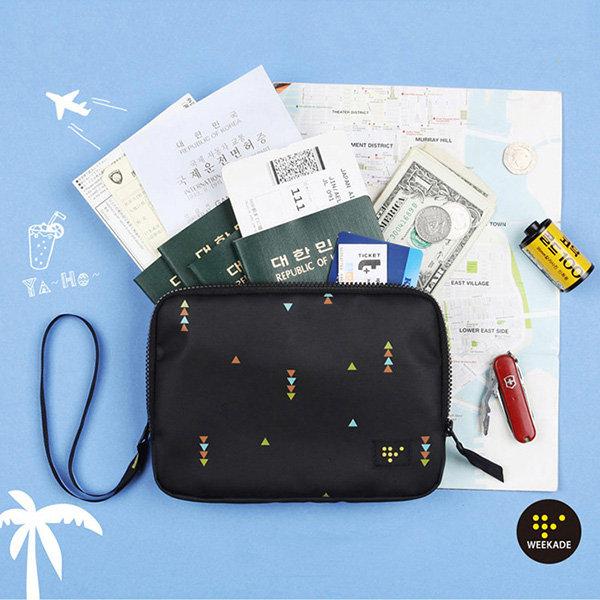 Multifunction Nylon Double Layer Passport Holder Organizer Waterproof Storage Bag