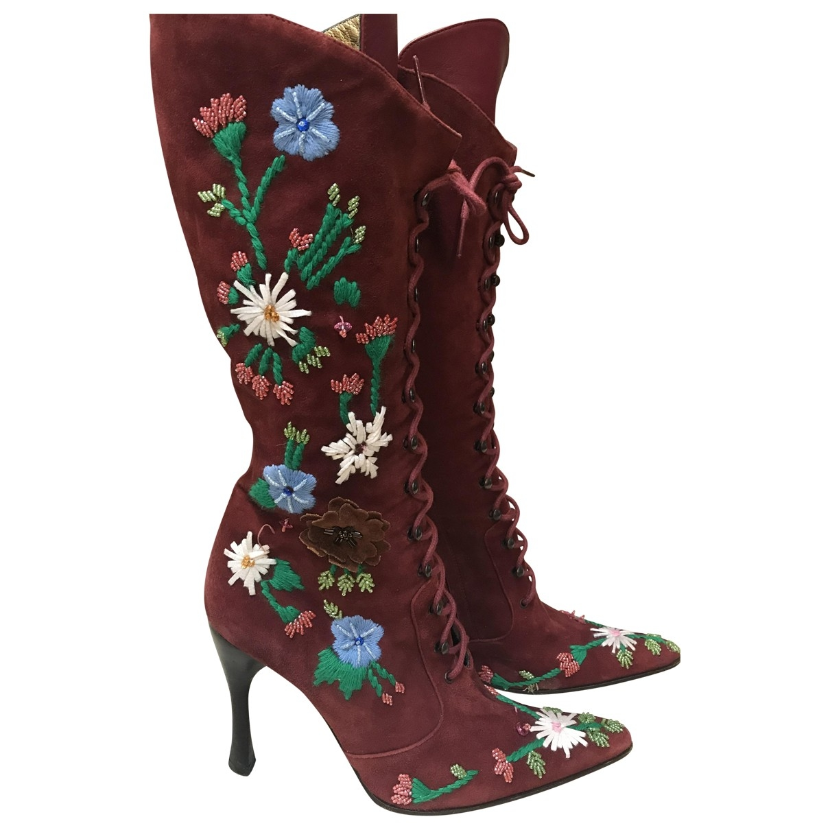 D&g \N Burgundy Leather Boots for Women 39 EU