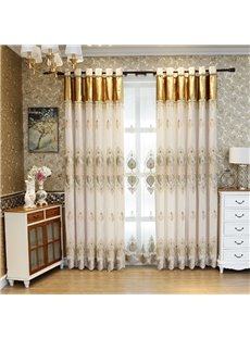 Blackout and Decorative Embroidery Contemporary Beige Bedroom and Living Room Curtain