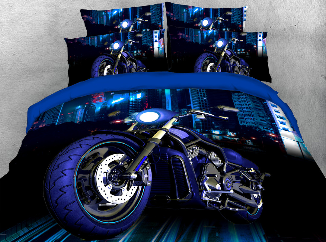 3D Motorcycle Zipper 4pcs Bedding Sets No-fading Soft Reactive Printing Blue Duvet Cover with Ties