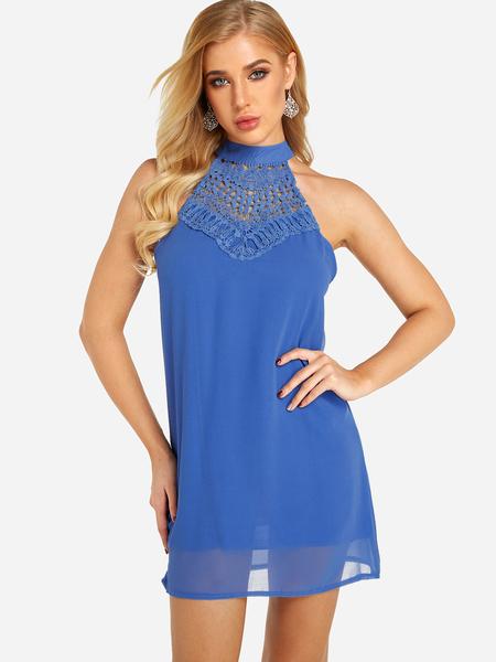 Yoins Blue Halter Hollow Out Mini Length Dress