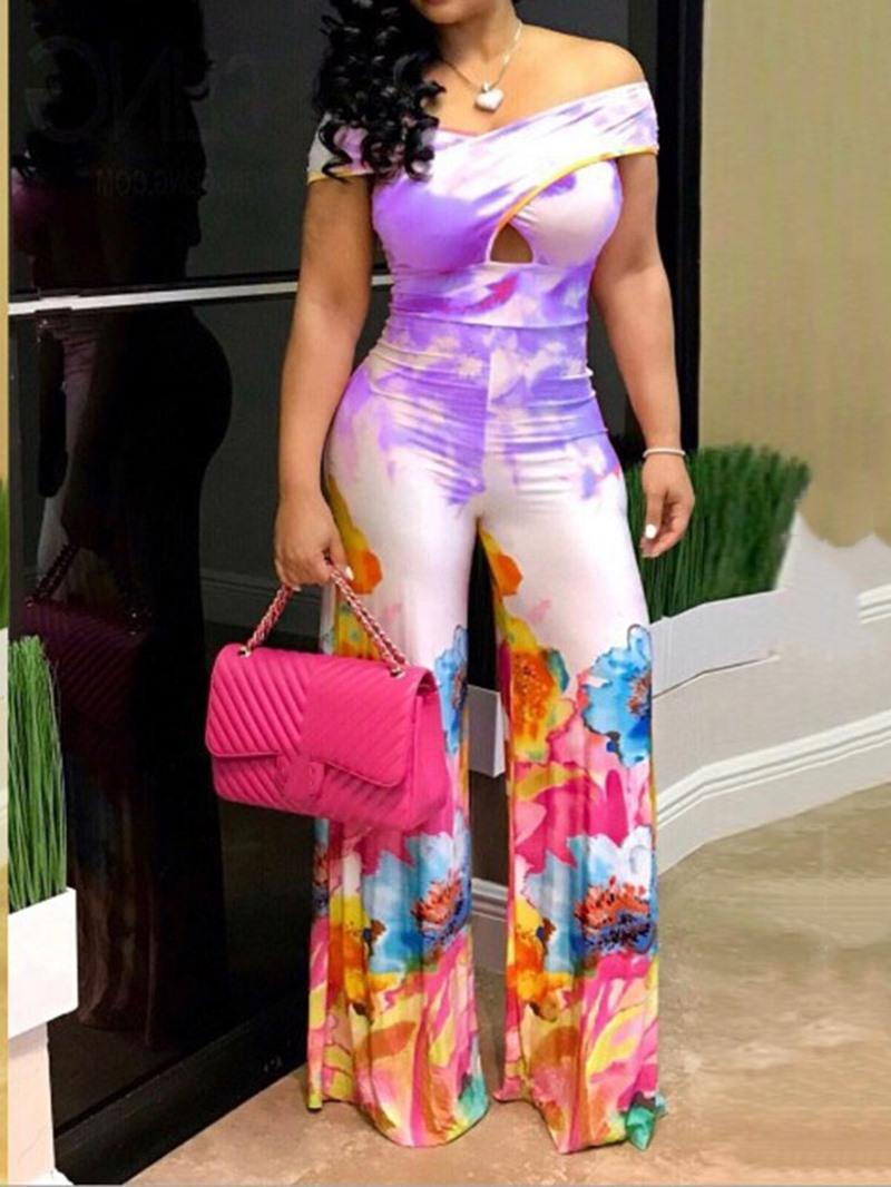 Ericdress Floral Print Slim Off Shoulder Wide Legs Jumpsuit