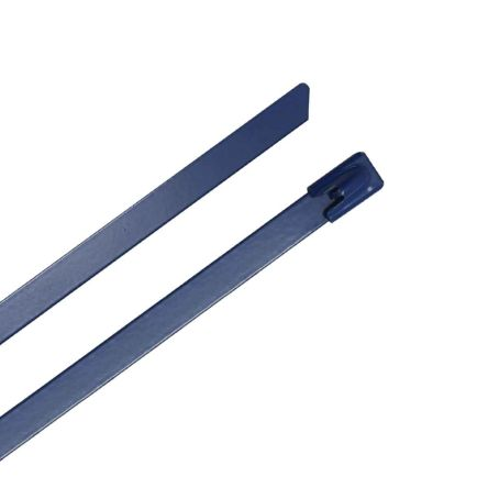 RS PRO Blue 316 Stainless Steel Ball Lock Cable Tie, 360mm x 7.9 mm (100)