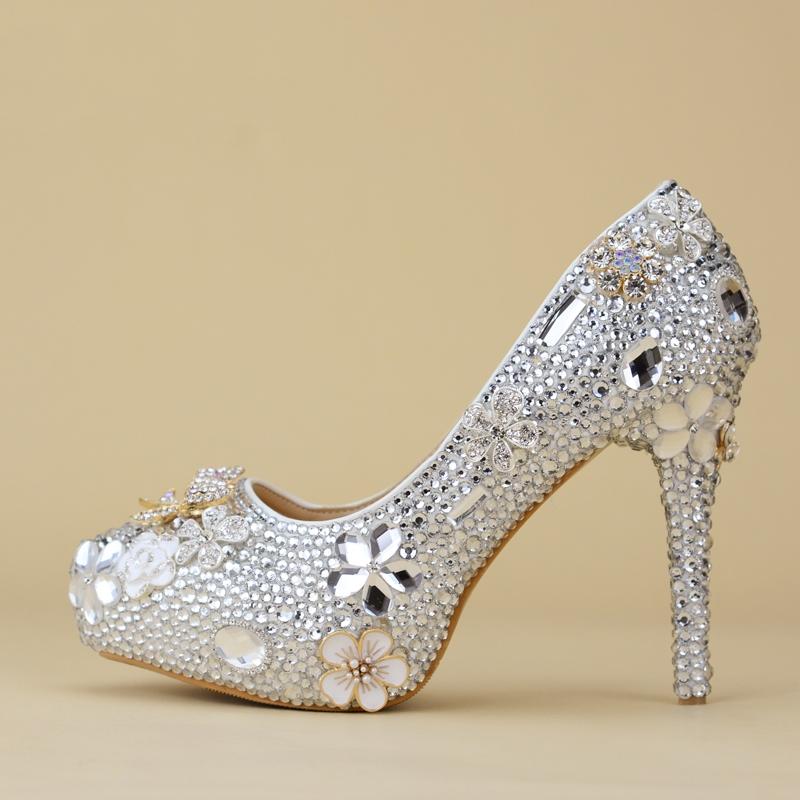 Ericdress Rhinestone Stiletto Heel Slip-On Platform Wedding Shoes
