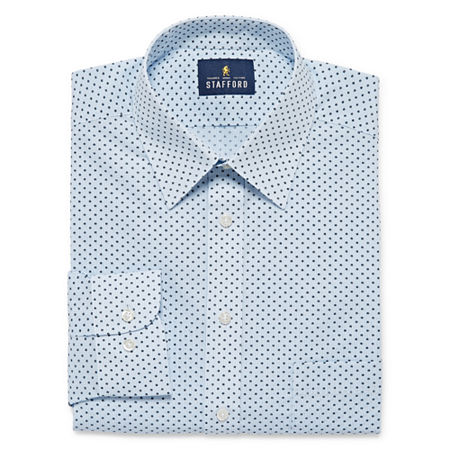 Stafford Mens Wrinkle Free Stain Resistant Stretch Super Shirt Big and Tall Dress Shirt, 20 36-37, Blue