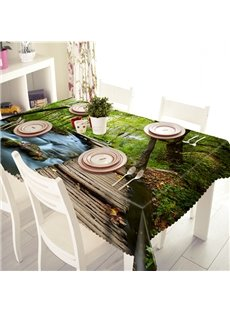 Fresh Polyester Forest and Bridge Scenery Pattern 3D Tablecloth