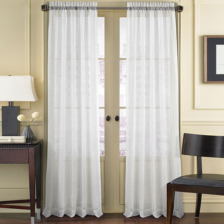 Queen Street Summit Sheer Rod-Pocket Single Curtain Panel, One Size , White