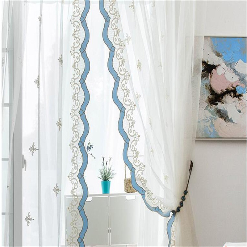 Sweet and Fresh Pastoral White Color with Blue Lace Custom Sheer Curtain for Living Room