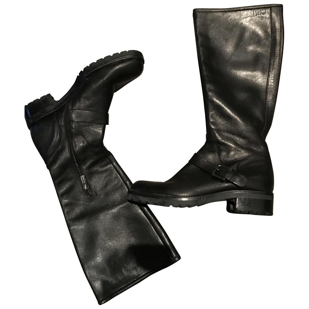 Jil Sander \N Black Leather Boots for Women 38.5 EU