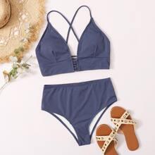 Rib Lace-up High Waisted Bikini Swimsuit