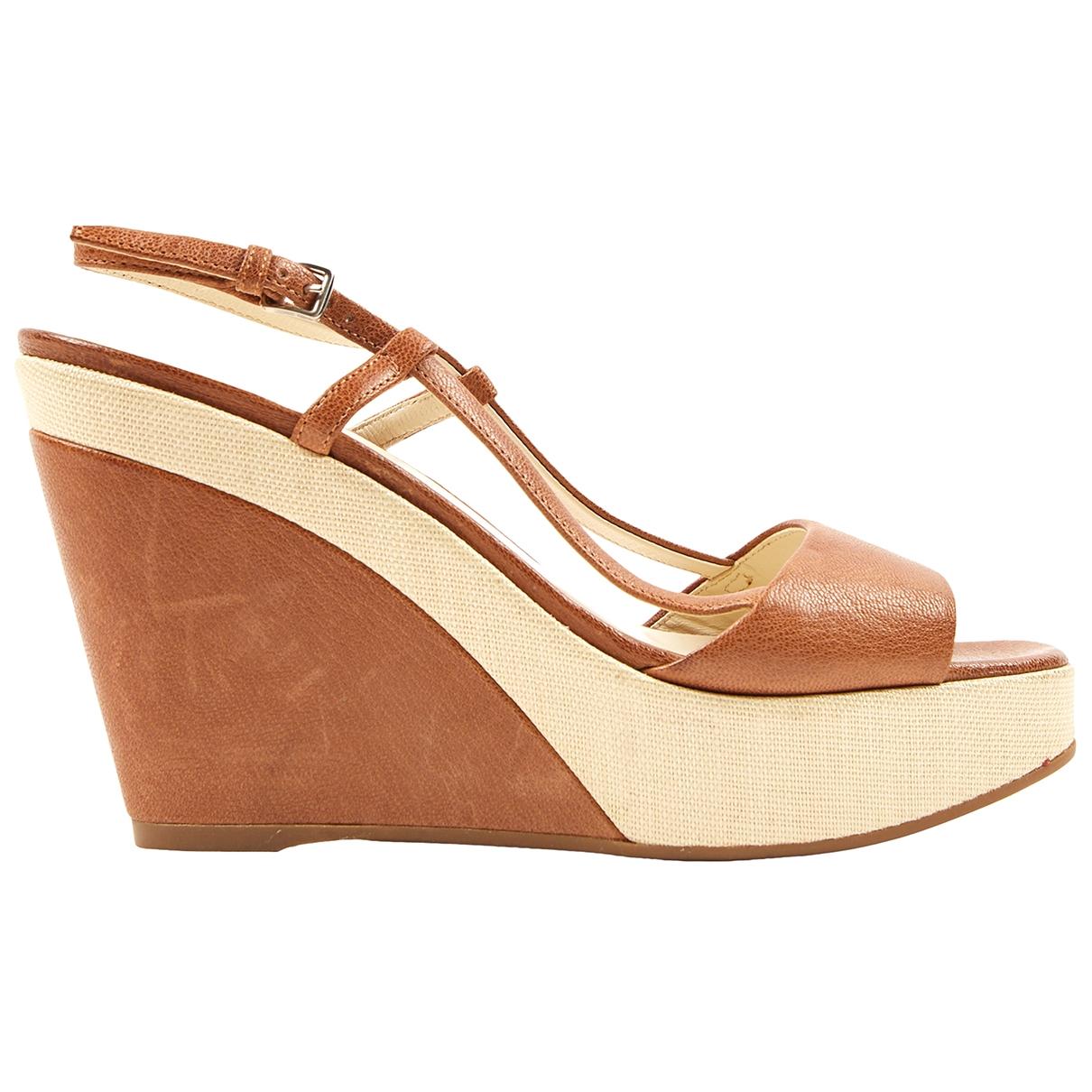 Jil Sander \N Brown Leather Sandals for Women 37.5 EU