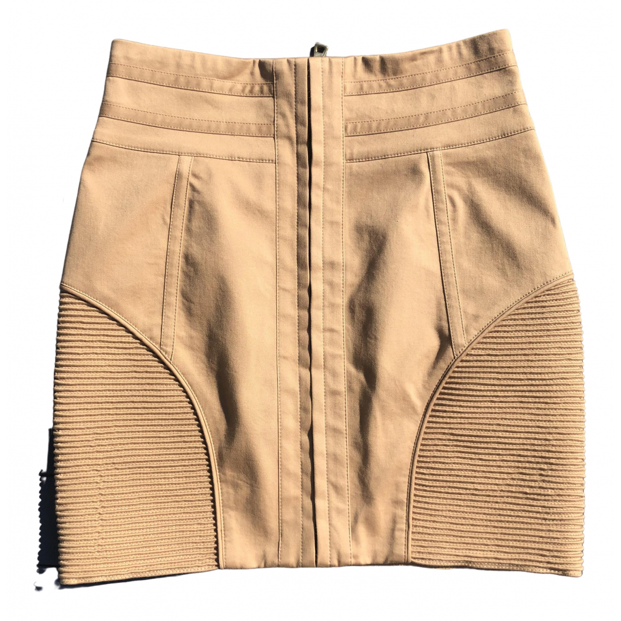 Balmain \N Beige Cotton - elasthane skirt for Women 40 FR