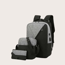 3pcs Colorblock Backpack With Crossbody Bag