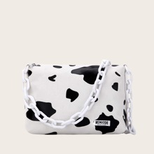 Random Strap Cow Print Shoulder Bag