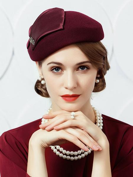 Milanoo Vintage Hat Beret Women Burgundy Wool Winter Hat Costume Accessories