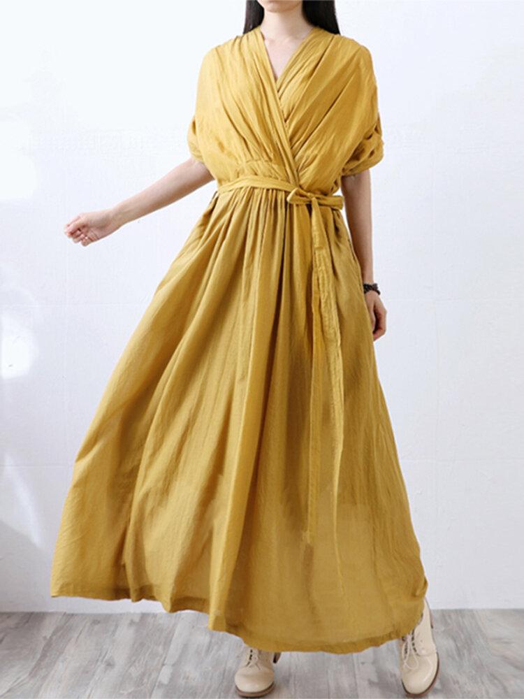 Vintage Pleated Elastic Waist Belted Plus Size Maxi Dress
