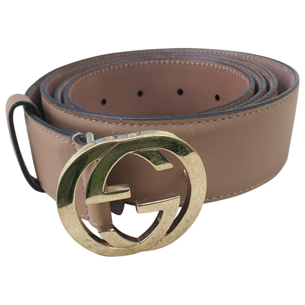 Gucci Interlocking Buckle Beige Leather belt for Women M International