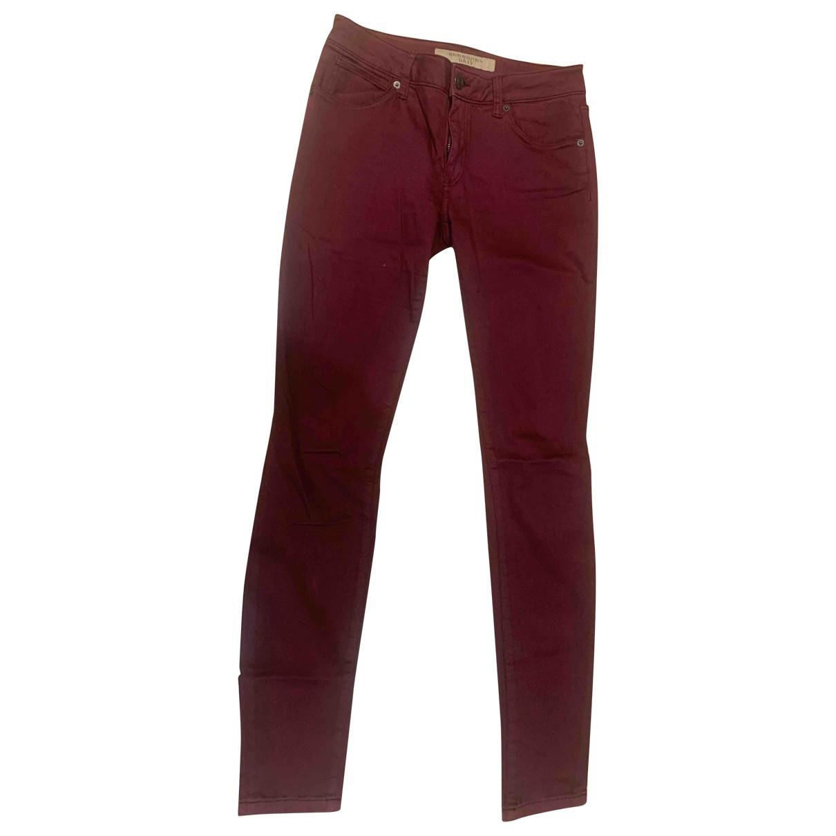 Burberry \N Burgundy Cotton - elasthane Jeans for Women 27 US