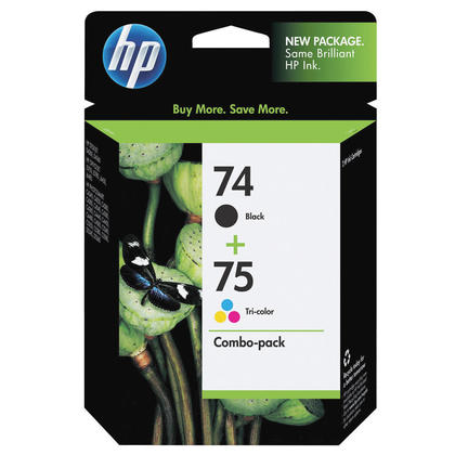 HP 74 75 CC659FC Original Black and Tri-color Ink Cartridge Combo