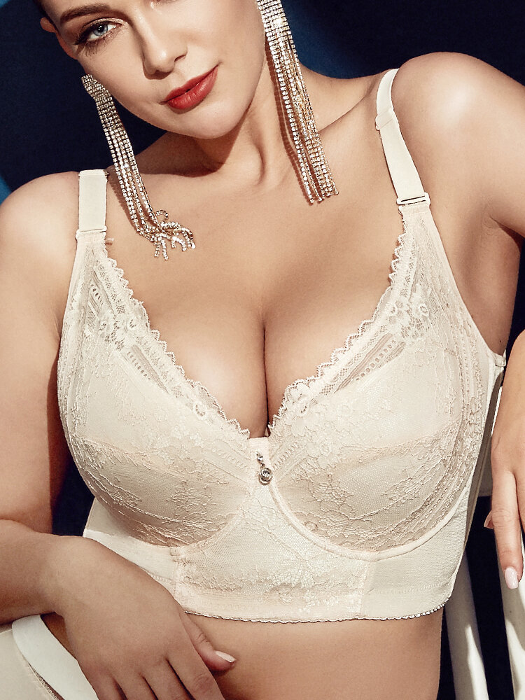Plus Size Embroidery Gather Plunge Thin J Cup Push Up Long Lined Lace Bra