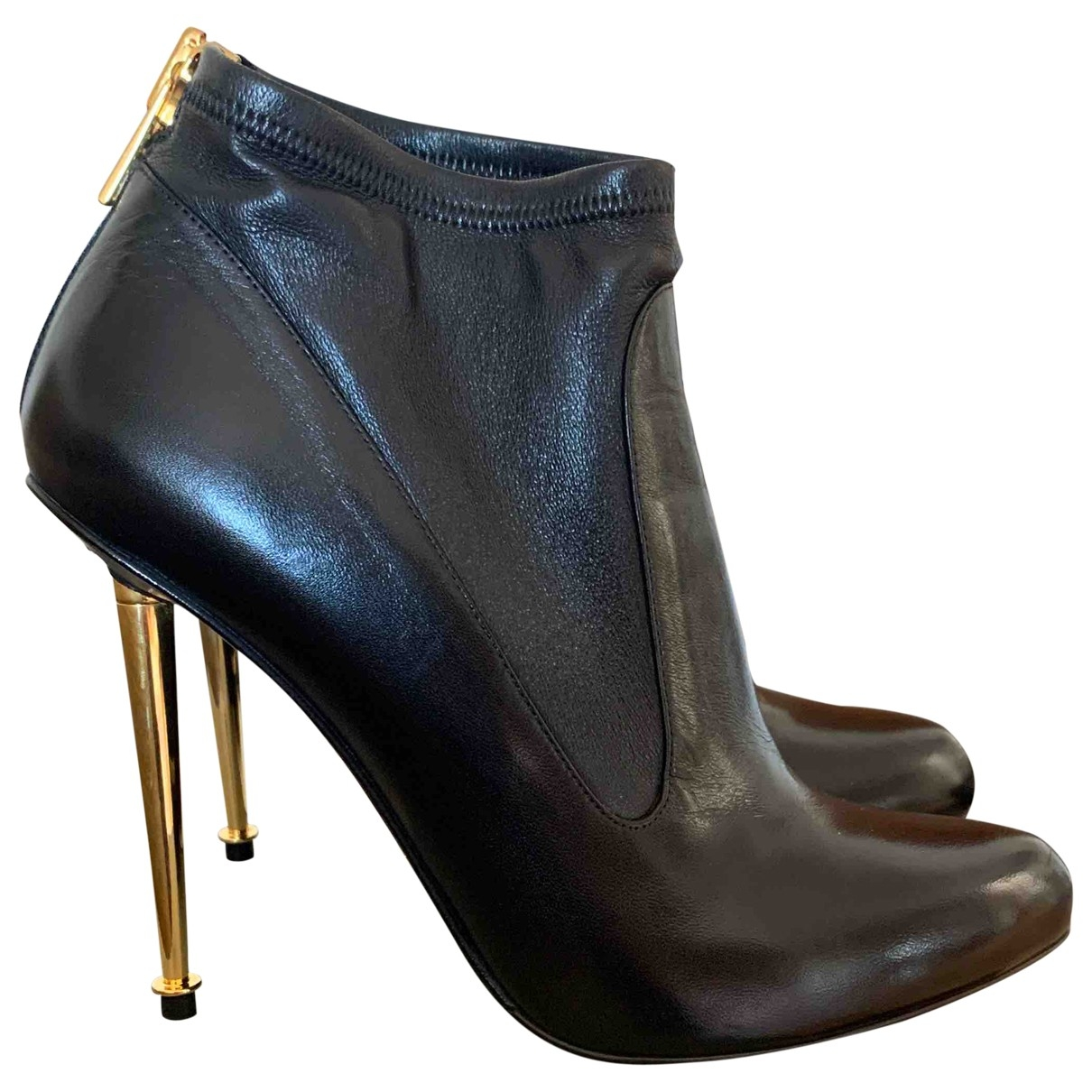 Tom Ford \N Black Leather Ankle boots for Women 38 IT