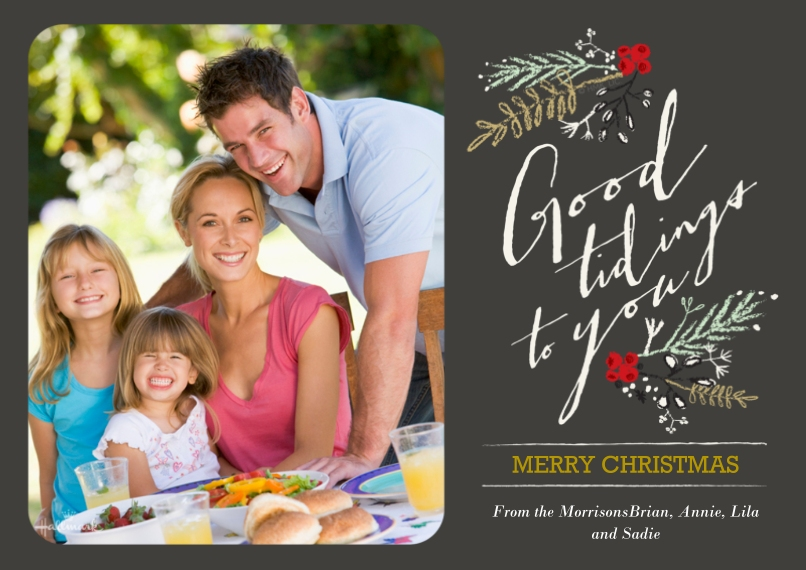 Christmas Photo Cards 5x7 Cards, Premium Cardstock 120lb, Card & Stationery -Botanical Tidings
