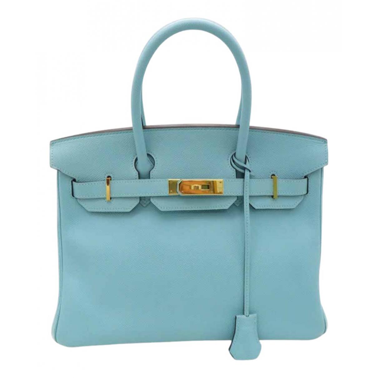 Hermès Birkin 30 Blue Leather handbag for Women \N