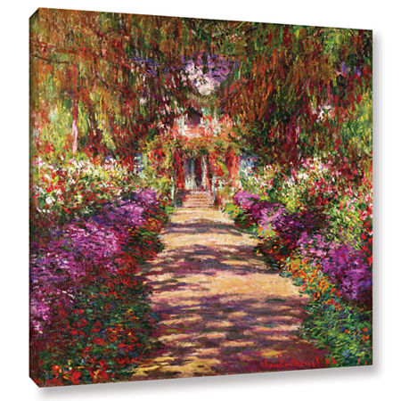 Brushstone A Pathway in Monet's Garden Gallery Wrapped Canvas Wall Art, One Size , Purple
