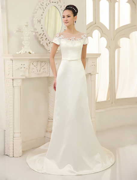 Milanoo Ivory Sheath Jewel Neck Bow Court Train Satin Wedding Dress For Bride