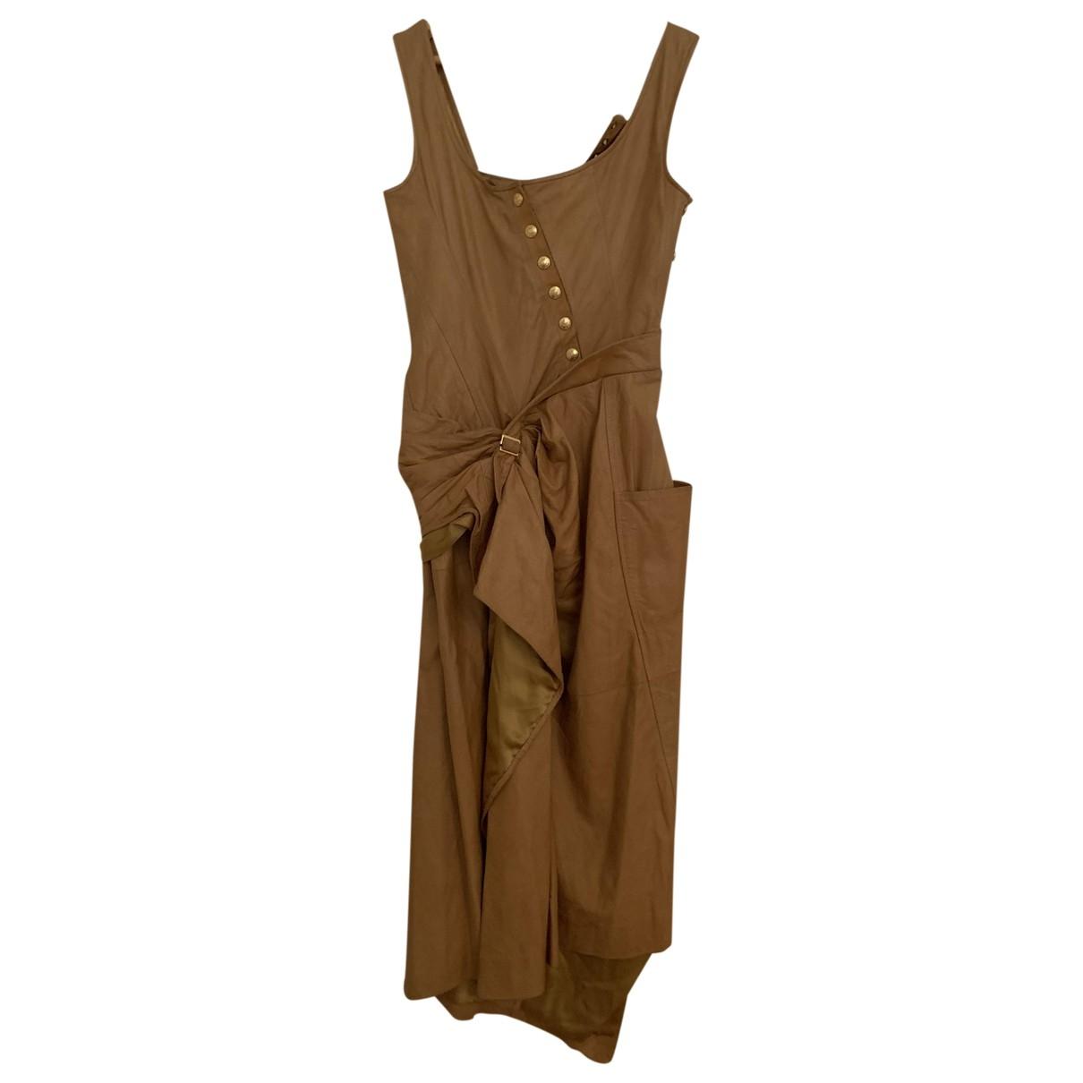 Dior \N Camel Leather dress for Women 36 FR