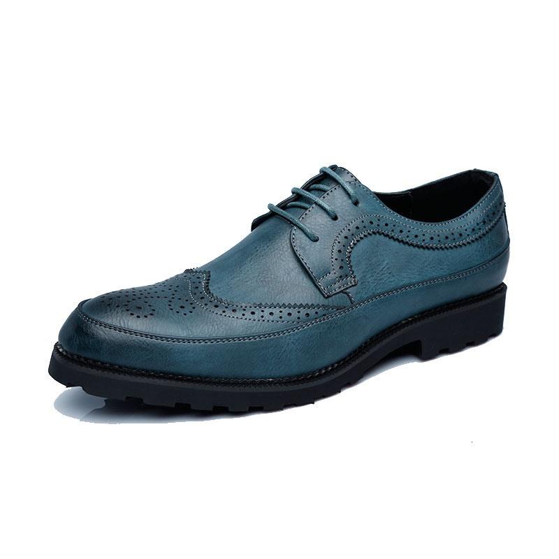 Ericdress Plain Lace-Up Pointed Toe Block Heel Men's Dress Shoes