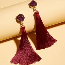1pair Tassel Charm Drop Earrings