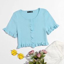 Frill Trim Button Front Cardigan