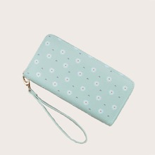 Daisy Floral Graphic Purse With Wristlet