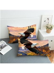 Eagles Soaring In The Valley Reactive Printing 2-Piece Polyester Pillowcase