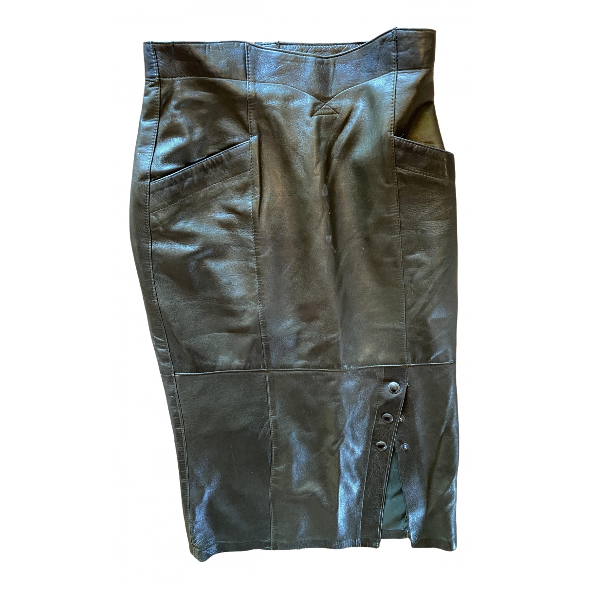 Non Signé / Unsigned \N Brown Leather skirt for Women 40 FR